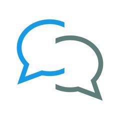 Icono plano chat azul y gris en fondo blanco