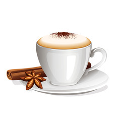 cappuccino with cinnamon stick and anise star