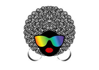 portrait African Women , dark skin female face with hair afro and rainbow glasses on isolated background