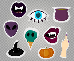 Halloween stickers on transparent background. Vector
