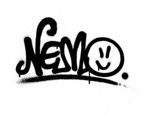 graffiti tag nemo sprayed with leak in black on white