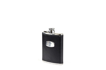 Black Leather covered hip flask with the lid closed