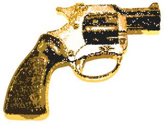 Yellow Halftone Glitter Pistol Gun Vector