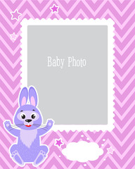 Photo Frame Design For Kids With Cute Rabbit. Decorative Template For Baby Vector Illustration. Birthday Children Photo Framework With Place For Photo. Sample For the Children.