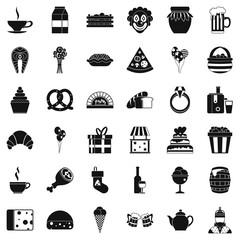 Big bounty icons set, simple style