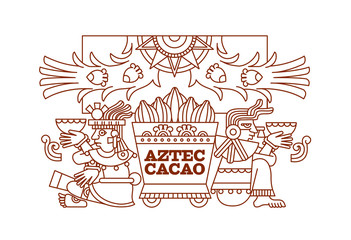 Vector illustration aztec pattern for chocolate package design.