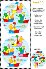 Visual puzzle: Find the seven differences between the two pictures of toy sailboats regatta, with frogs and chicks as captains and sailors. Answer included.