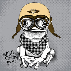 Poster with image of a frog wearing retro motorcyclist helmet and checkered neckerchief. Vector illustration.