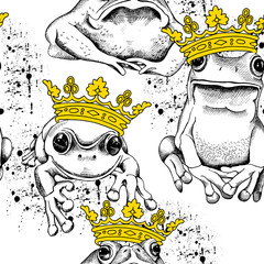 Seamless pattern with frog and toad wearing a yellow crown. Vector illustration.