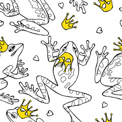 Seamless pattern with image frogs and crowns. Vector illustration.