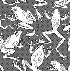 Seamless Pattern Frogs Black & White