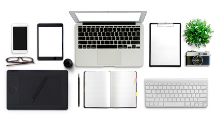 Top view of White office desk table with office supplies.