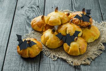 Homemade sweet pumpkin buns for Halloween