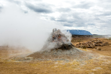 Autocollant pour porte Vieux rose Mudpot in the Namafjall geothermal area, Iceland - area around boiling mud is multicolored and cracked