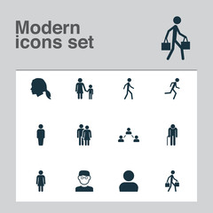 Person Icons Set. Collection Of Scientist, Network, Jogging And Other Elements. Also Includes Symbols Such As Courier, Child, Head.