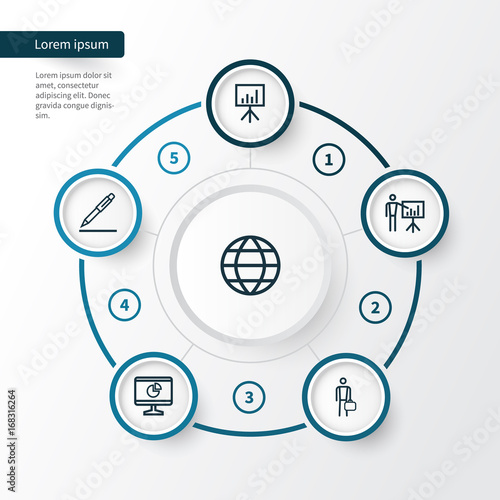 Trade Outline Icons Set  Collection Of Global, Businessman