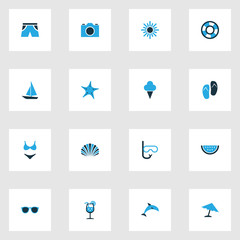 Sun Colorful Icons Set. Collection Of Swimsuits, Umbrella, Flip Flop And Other Elements. Also Includes Symbols Such As Video, Watermelon, Sunshine.