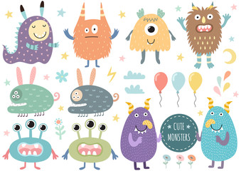 Vector set of cute monsters. Funny characters isolated elements. Vector illustration