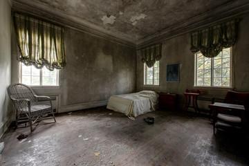 Twin Bed with Windows, Valances & Hardwood Floors - Abandoned Mansion