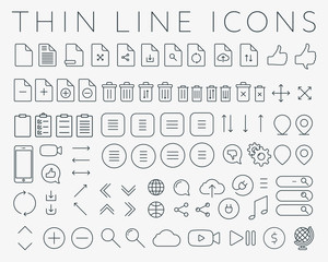 Big Set of 80 Simple Standard User Interface Universal Minimal Modern Thin Vector Line Icons