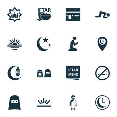 Religion Icons Set. Collection Of Religious, Cigarette Forbidden, Mecca And Other Elements. Also Includes Symbols Such As Crescent, Cigarette, Church.