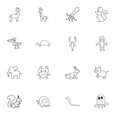 Set Of 16 Editable Animal Doodles. Includes Symbols Such As Slug, Lobster, Swine And More. Can Be Used For Web, Mobile, UI And Infographic Design.