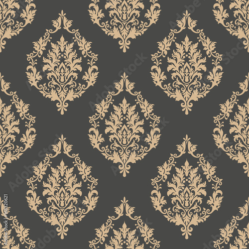 Vector Damask Seamless Pattern Background Classical Luxury