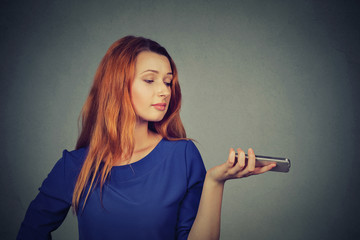 Frustrated annoyed upset woman with mobile phone