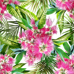 Exotic flowers seamless pattern. Artistic background.