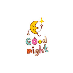 good night hand lettering design with cute moon character