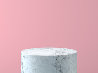 Empty white marble podium on pastel pink color background. 3D rendering.  Wall mural