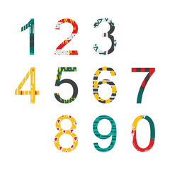 Summer bright decorated numbers in hand drawn style, drawn with freehand brush graphic.