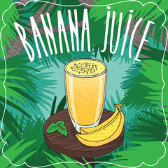 Fresh banana juice in transparent glass on wooden table with whole ripe fruits. Tropical background. Realistic hand draw style. Lettering Banana Juice