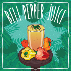 Fresh capsicum juice in glass on wooden table with ripe fruits, whole and slices. Tropical background. Realistic hand draw style. Lettering Bell Pepper Juice