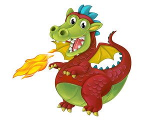 cartoon funny looking dragon bursting with fire - isolated - illustration for children