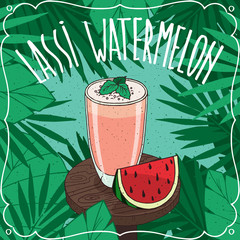 Watermelon Lassi, Indian drink with fresh juice, on wooden table with slice of ripe fruit. Natural background. Realistic hand draw style. Lettering Lassi Watermelon