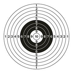 Target Gun Vector. Classic Paper Shooting Target Illustration. For Sport, Hunters, Military, Police, Illustration
