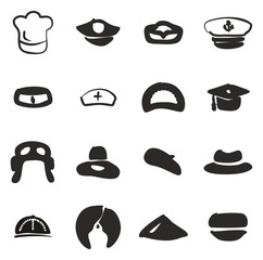 Hat Icons Set 1 Freehand Fill