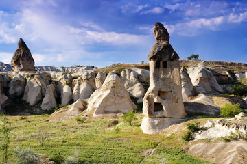 Valley of Uchisar, a cave city. Cappadocia, Turkey.