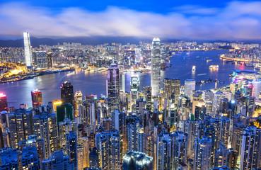 Printed kitchen splashbacks Australia Panorama view of Hong Kong city skyline at night
