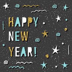 Happy new year card. Handmade text pattern