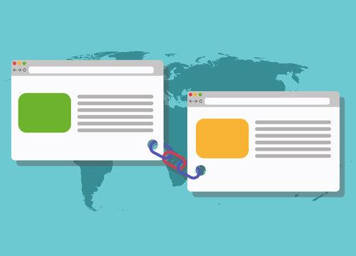 Backlinks or link building seo concept