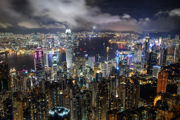 Panorama view of Hong Kong city skyline at night