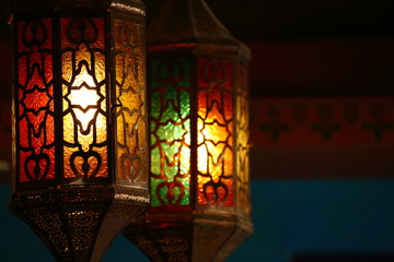 beautiful vintage lantern hanging, ramadan light decoration