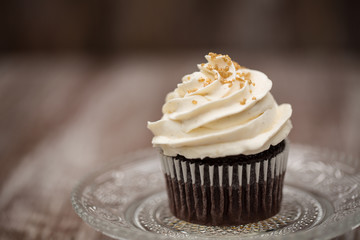 Close Up Chocolate Cupcake With Vanilla Frosting