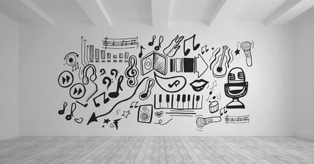 Conceptual graphic on 3D room wall