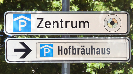 A sign leading to Munich's famous Hofbraeuhaus Restaurant and beer pub in Munich