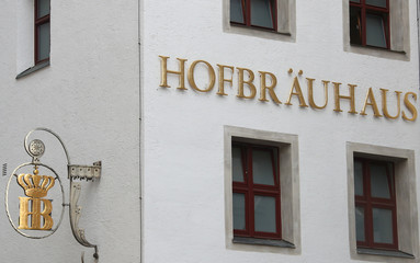 A sign of Munich's famous Hofbraeuhaus Restaurant and beer pub in Munich