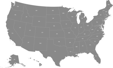 Map of the United States of America split into individual states. Displaying postal codes for each state. Fotomurales