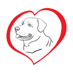 Silhouette of a dog in a red heart. A love for animals. Isolated on white. Illustration. Vector.